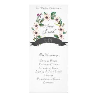 Programa blanco del boda de las flores rústicas lona