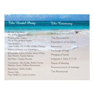 """Programa blanco del boda de playa folleto 8.5"""" x 11"""""""