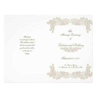 """Programa blanco del boda del cordón floral del Vic Folleto 8.5"""" X 11"""""""