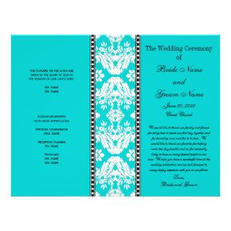 Programa blanco del boda del damasco de la aguamar tarjetón