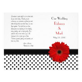 "Programa blanco del boda del lunar del negro rojo folleto 8.5"" x 11"""