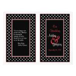 Programa blanco negro del boda de la franja roja d tarjetas publicitarias