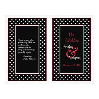 """Programa blanco negro del boda de la franja roja folleto 8.5"""" x 11"""""""