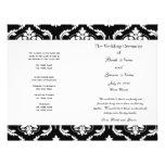 Programa blanco negro del boda del damasco del vin tarjetas publicitarias