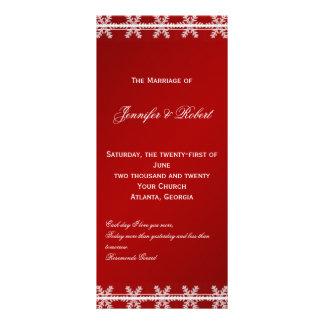 Programa blanco rojo del boda del invierno del cop tarjeta publicitaria personalizada