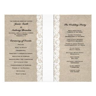 Programa blanco rústico del boda de la cinta del c tarjetas publicitarias