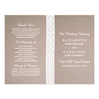 """Programa blanco rústico del boda del cordón de folleto 8.5"""" x 11"""""""