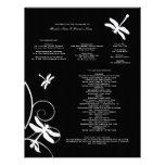 Programa blanco y negro del boda de la libélula membrete personalizado