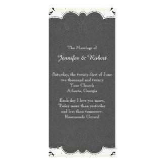 Programa blanco y negro del boda de la pizarra del tarjeta publicitaria