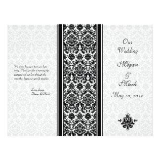 Programa blanco y negro del boda del damasco