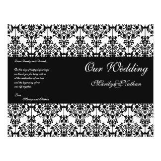 Programa blanco y negro del boda del damasco flyer a todo color