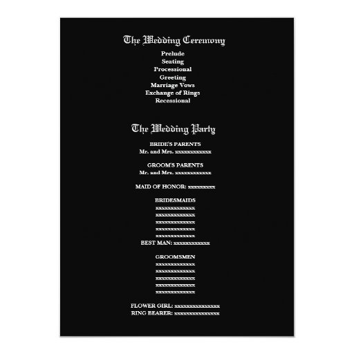 Programa blanco y negro V2 del boda de la cebra Invitación 13,9 X 19,0 Cm