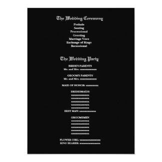 """Programa blanco y negro V2 del boda de la cebra Invitación 5.5"""" X 7.5"""""""