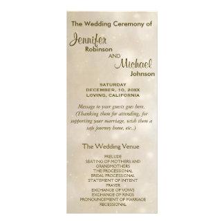 Programa caliente del boda de Bokeh del oro Tarjetas Publicitarias Personalizadas