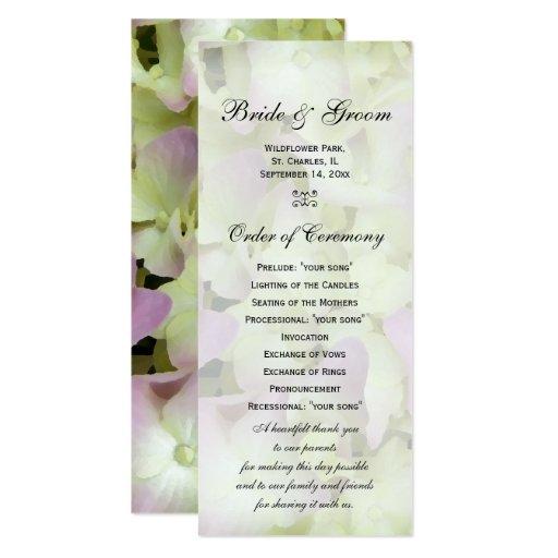 """Programa casi rosado del boda del Hydrangea Invitación 4"""" X 9.25"""""""