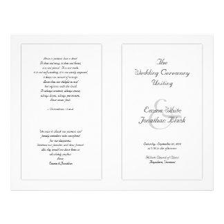 """Programa católico blanco de la ceremonia de boda folleto 8.5"""" x 11"""""""