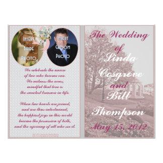 Programa clásico de las memorias del boda tarjeta publicitaria