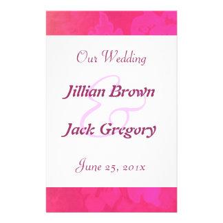 Programa color de rosa del boda de la fantasía tarjetas publicitarias