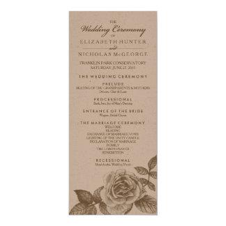 """Programa color de rosa del boda del bosquejo en invitación 4"""" x 9.25"""""""