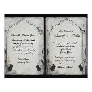 "Programa color de rosa negro gótico del boda del folleto 8.5"" x 11"""