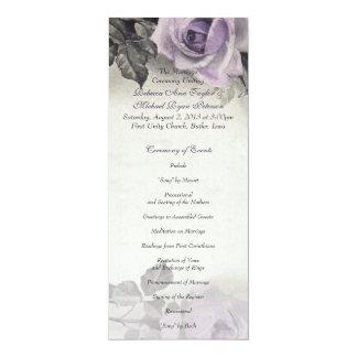 """Programa color de rosa púrpura del boda de la invitación 4"""" x 9.25"""""""