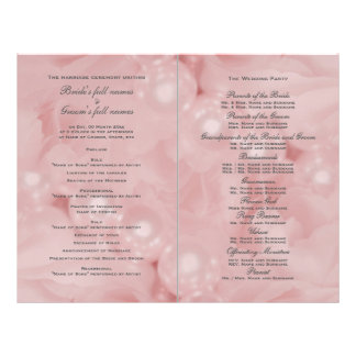 "Programa color de rosa rosado del boda de la perla folleto 8.5"" x 11"""