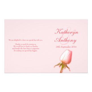 Programa color de rosa rosado del boda del brote tarjetas publicitarias