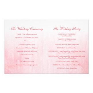 Programa color de rosa rosado del boda del brote tarjetón