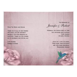 Programa color de rosa rosado del boda del colibrí tarjeton