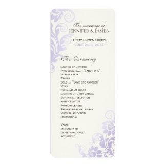 """Programa con clase del boda de la lila de Ombre Invitación 4"""" X 9.25"""""""