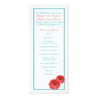 Programa coralino azul del boda de la margarita invitación 10,1 x 23,5 cm