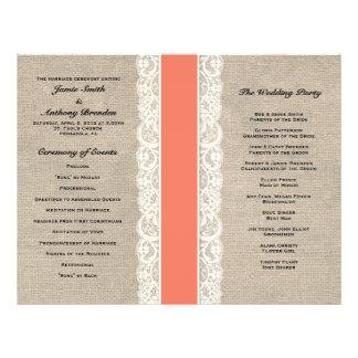 """Programa coralino rústico del boda de la cinta del folleto 8.5"""" x 11"""""""