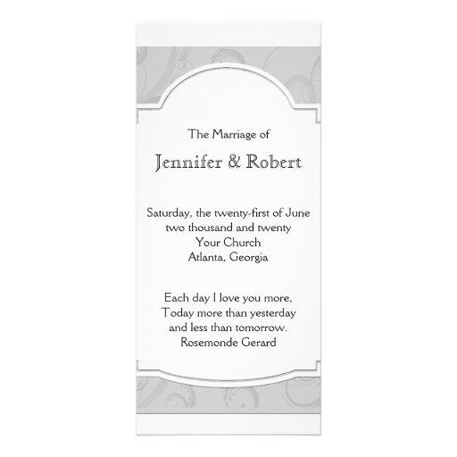 Programa curvado del boda del gris de plata de la tarjeta publicitaria personalizada