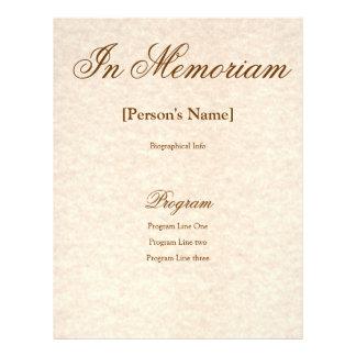 """Programa de ceremonia conmemorativa con el texto folleto 8.5"""" x 11"""""""