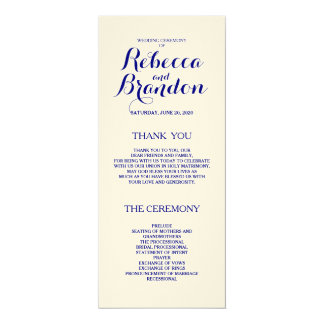 """Programa de encargo del boda de la escritura del invitación 4"""" x 9.25"""""""