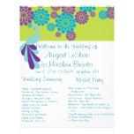 Programa de encargo floral del boda del pavo real tarjetas informativas