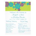 Programa de encargo floral del boda del pavo real flyer a todo color
