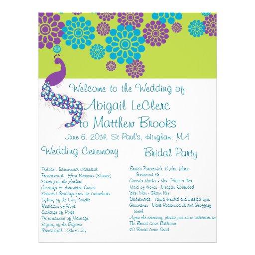 Programa de encargo floral del boda del pavo real tarjeta publicitaria