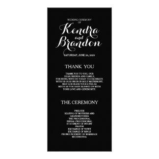 Programa de encargo negro simple elegante del boda lona publicitaria