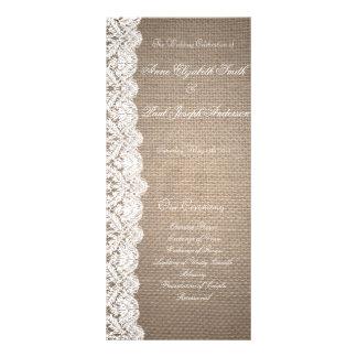 Programa de la arpillera y del boda del cordón diseño de tarjeta publicitaria