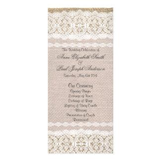 Programa de la arpillera y del boda del cordón tarjeta publicitaria a todo color