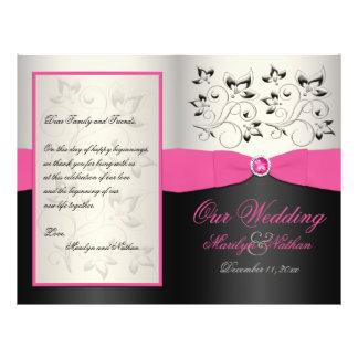 Programa de la bodas de plata rosada, negra, y tarjetas informativas