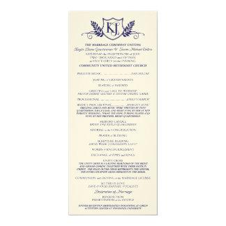 """Programa de la ceremonia de boda de K&J Invitación 4"""" X 9.25"""""""
