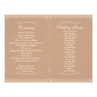 Programa de la ceremonia de boda del vintage flyer a todo color