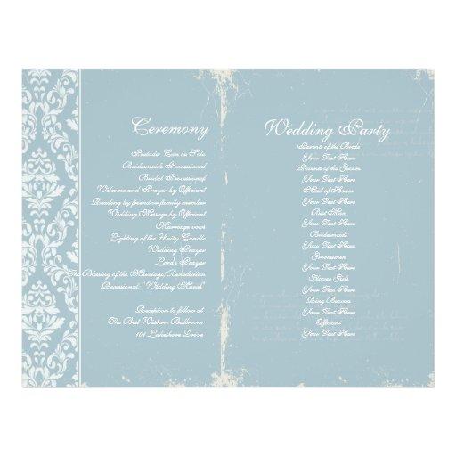 Programa de la ceremonia de boda del vintage tarjetas informativas