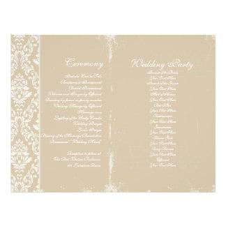 Programa de la ceremonia de boda del vintage tarjetón