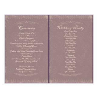 "Programa de la ceremonia de boda del vintage folleto 8.5"" x 11"""