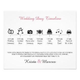 """Programa de la cronología del boda del icono folleto 4.5"""" x 5.6"""""""