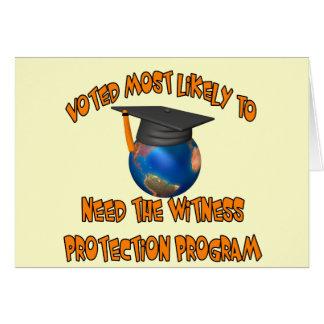 Programa de la protección del testigo tarjeta de felicitación