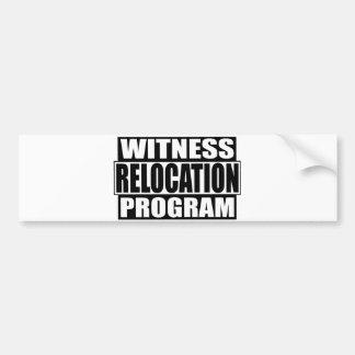 programa de la relocalización del testigo etiqueta de parachoque